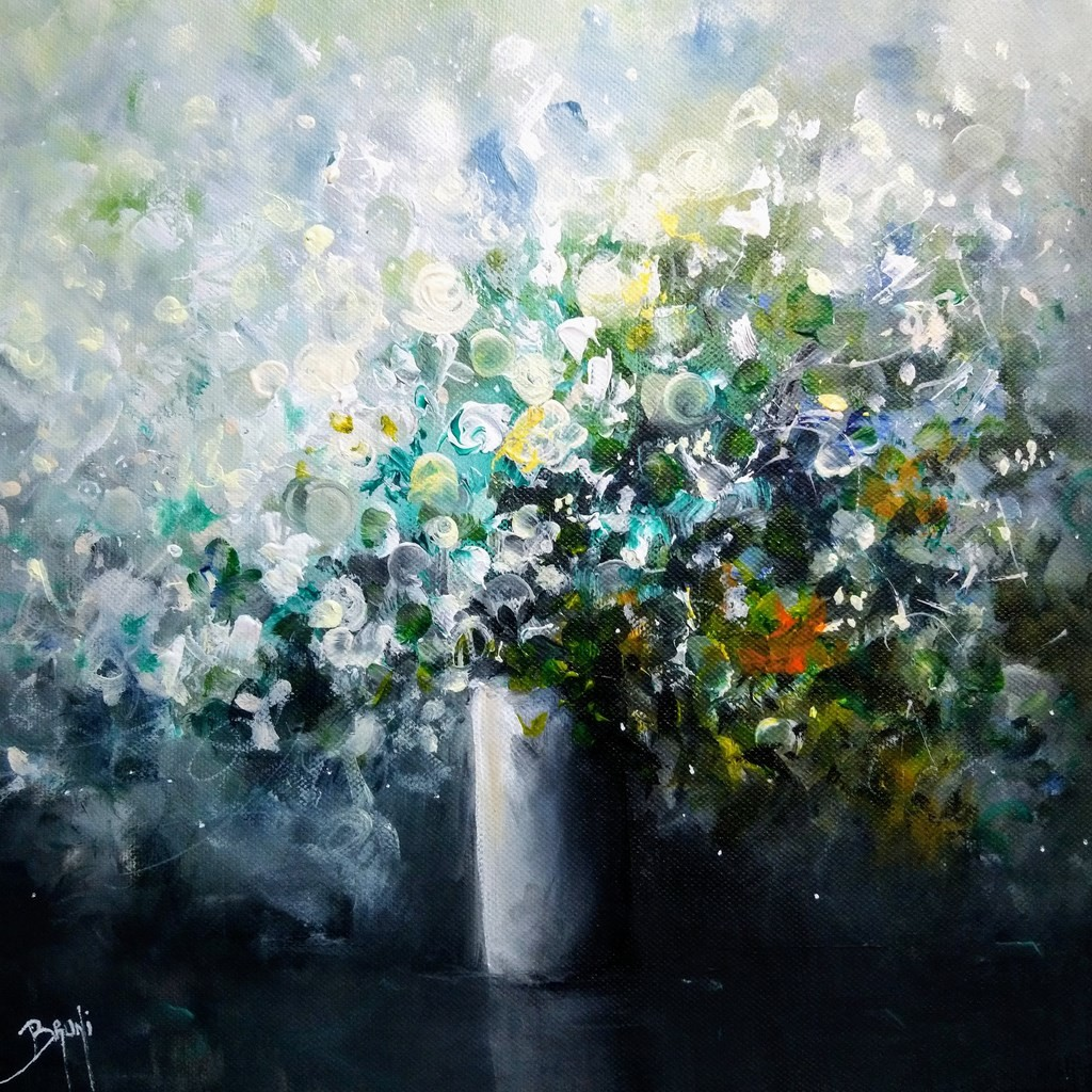 Bouquet of white roses - Peinture Eric Bruni
