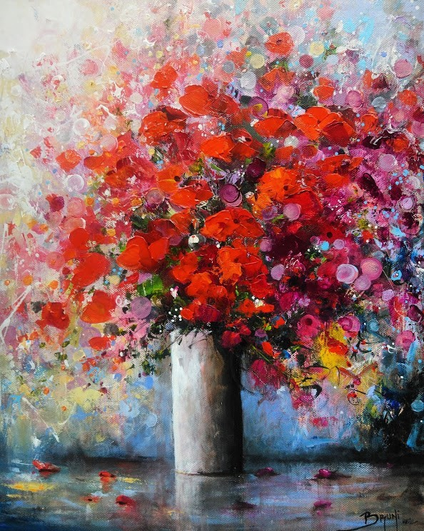 Bouquet RUBIS - Modern painting ©Bruni Eric